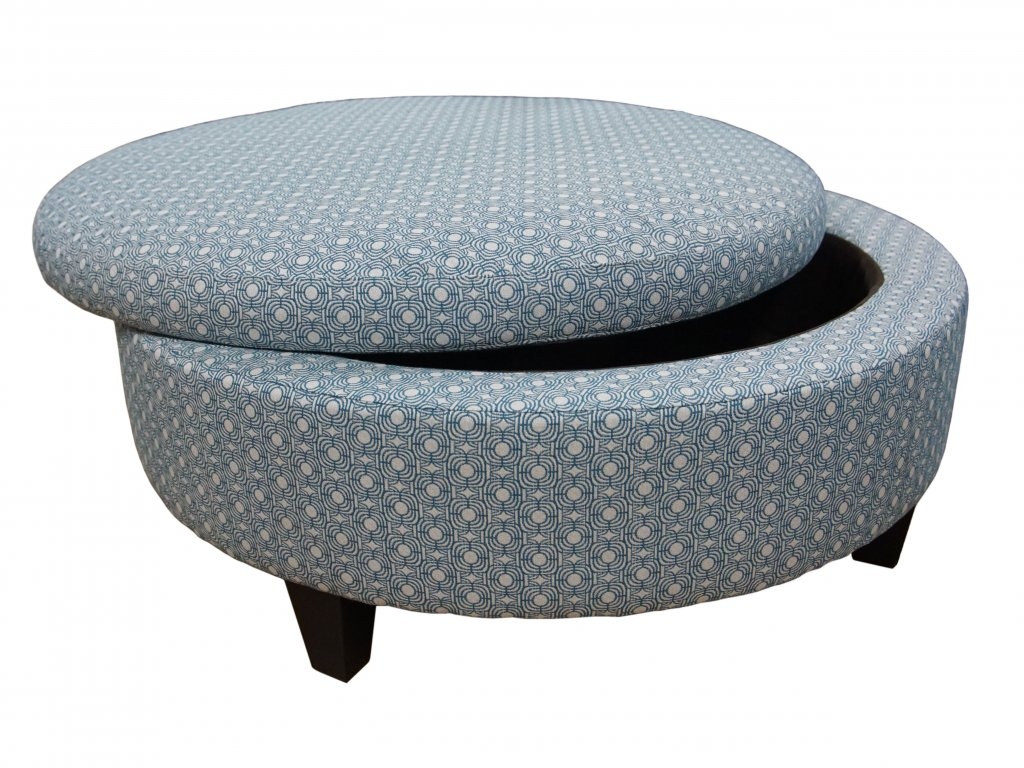 Large Round Leather Storage Ottoman By Jonathan Louis Broadway Furniture