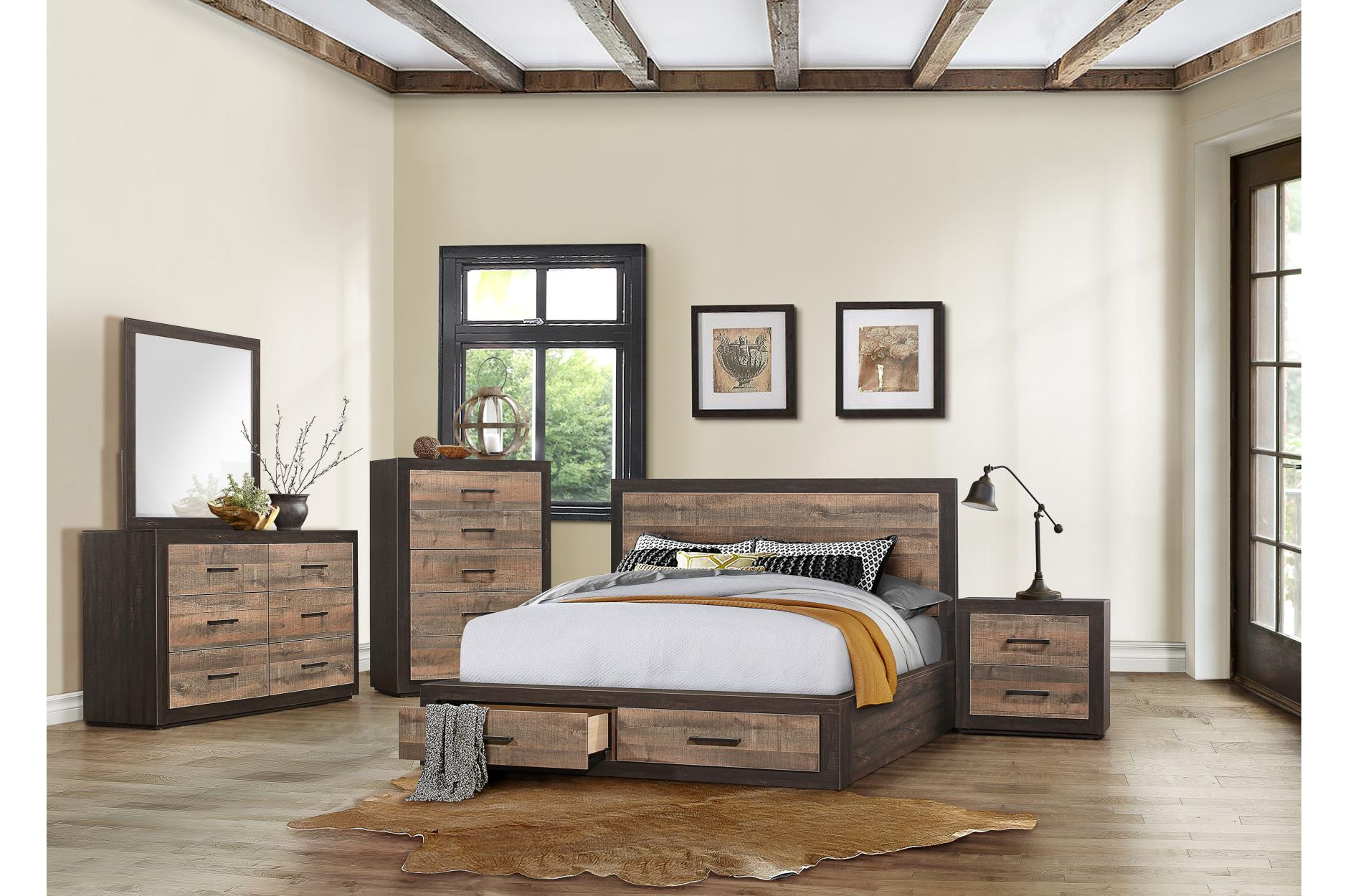 Miter Platform Bed w/ Footboard Storage by Homelegance