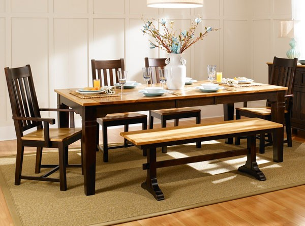 Two tone wood dining room sets for 2 tone dining room sets