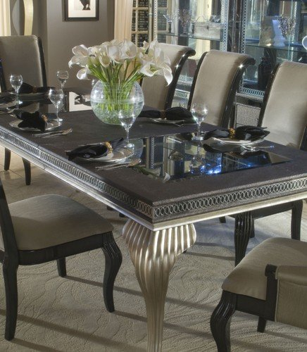 Swank Furniture Swank Leg Dining Table With Glass Top Broadway
