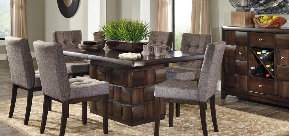 Ashley Chanella Rectangular Pedestal Ext Table and Chairs