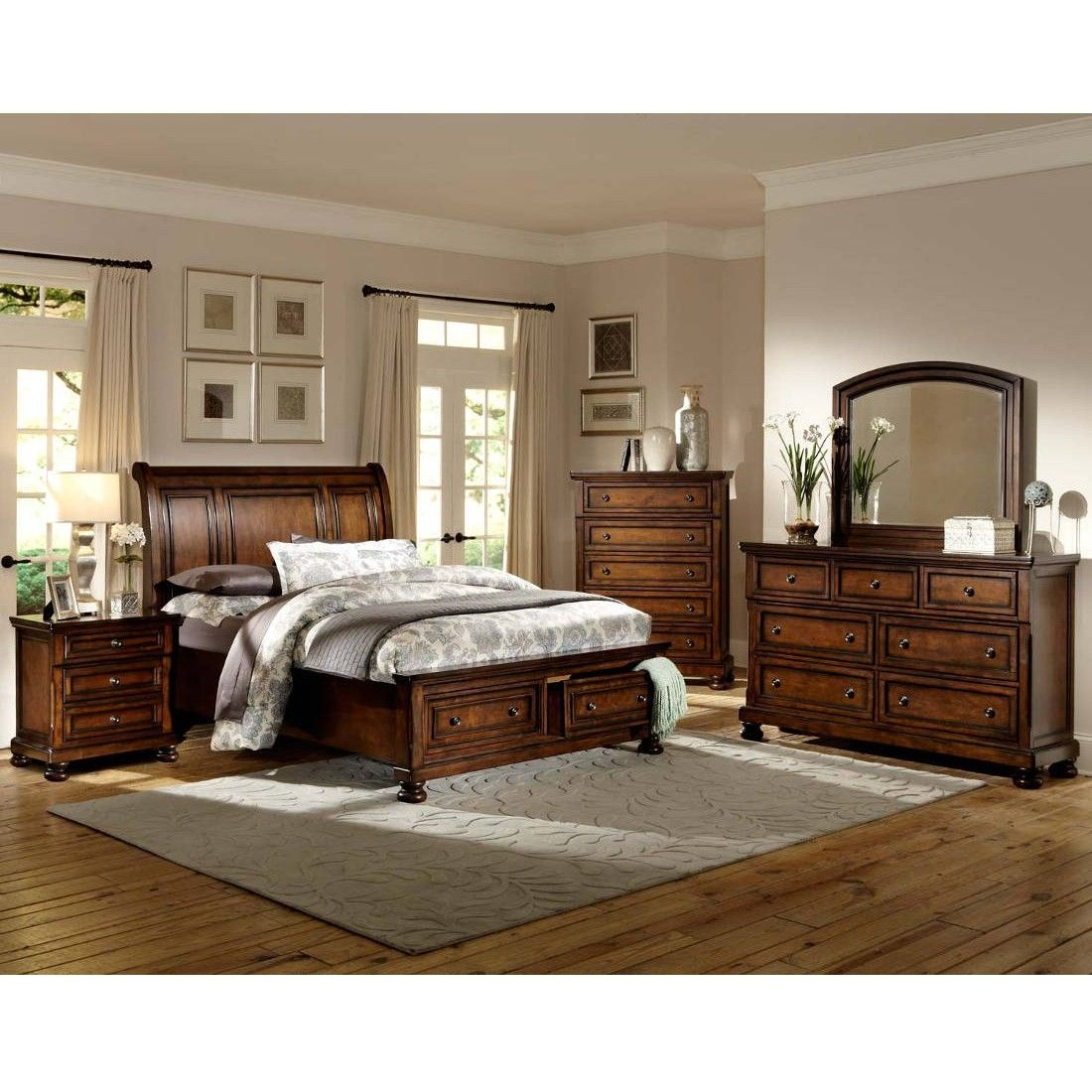 Cumberland Sleigh Platform Bed w/ Footboard Storage by Homelegance