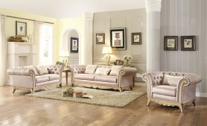 An elegantly designed living room featuring a fabric sofa set