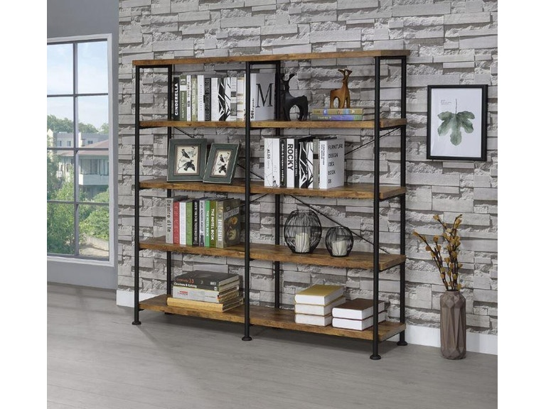 Barritt Industrial Antique Nutmeg Double Wide Bookcase By