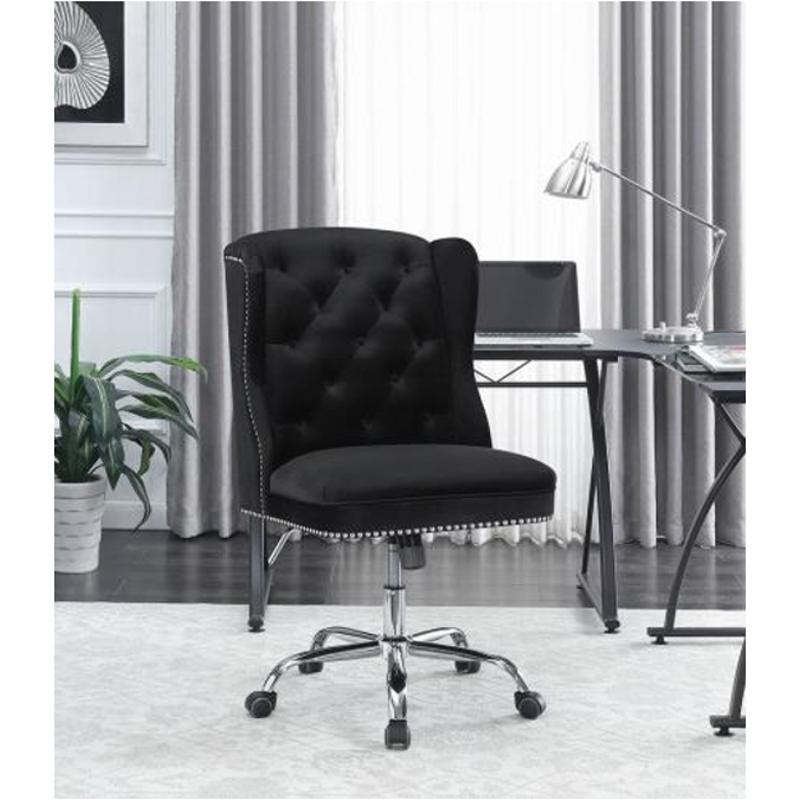 Contemporary Modern Black Velvet Office Chair By Coaster Broadway Furniture