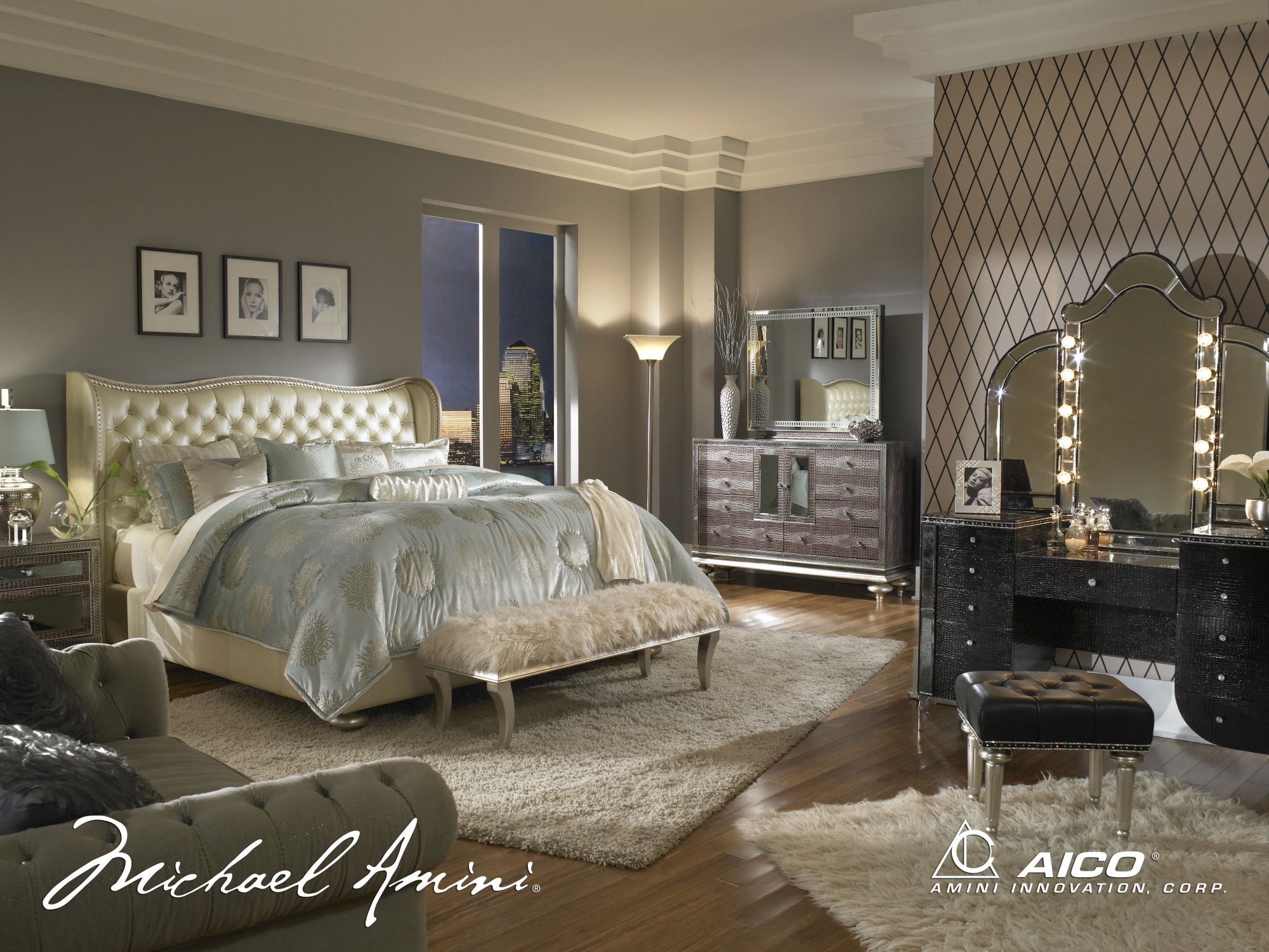 AICO Hollywood Swank Starry Night Queen Upholstered Bed