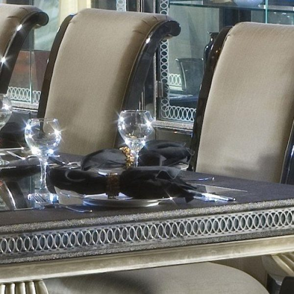 Hollywood Swank Leg Dining Table With Glass Top
