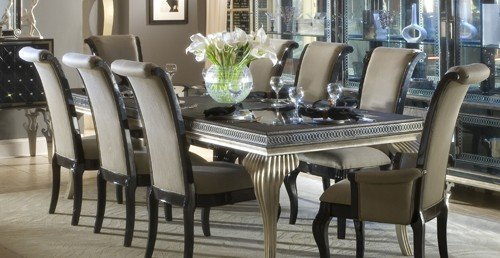 Marvelous Hollywood Swank Leg Dining Table With Glass Top Complete Set
