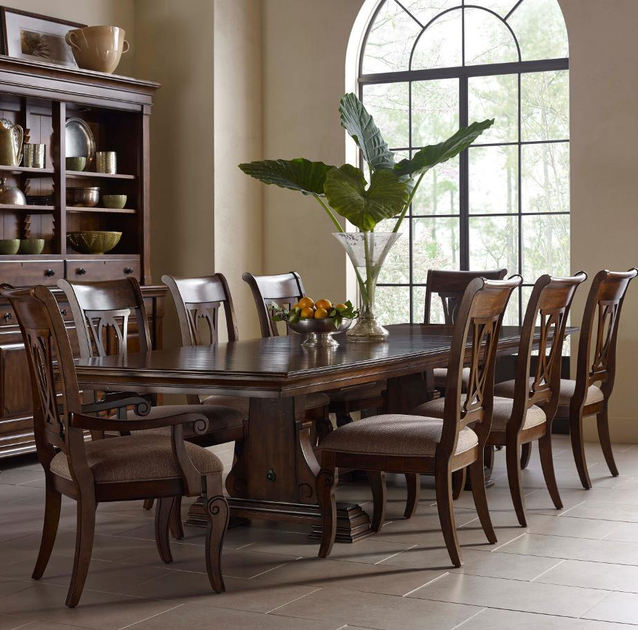 Kincaid furniture portolone trestle table dining room set for Dining room table sets