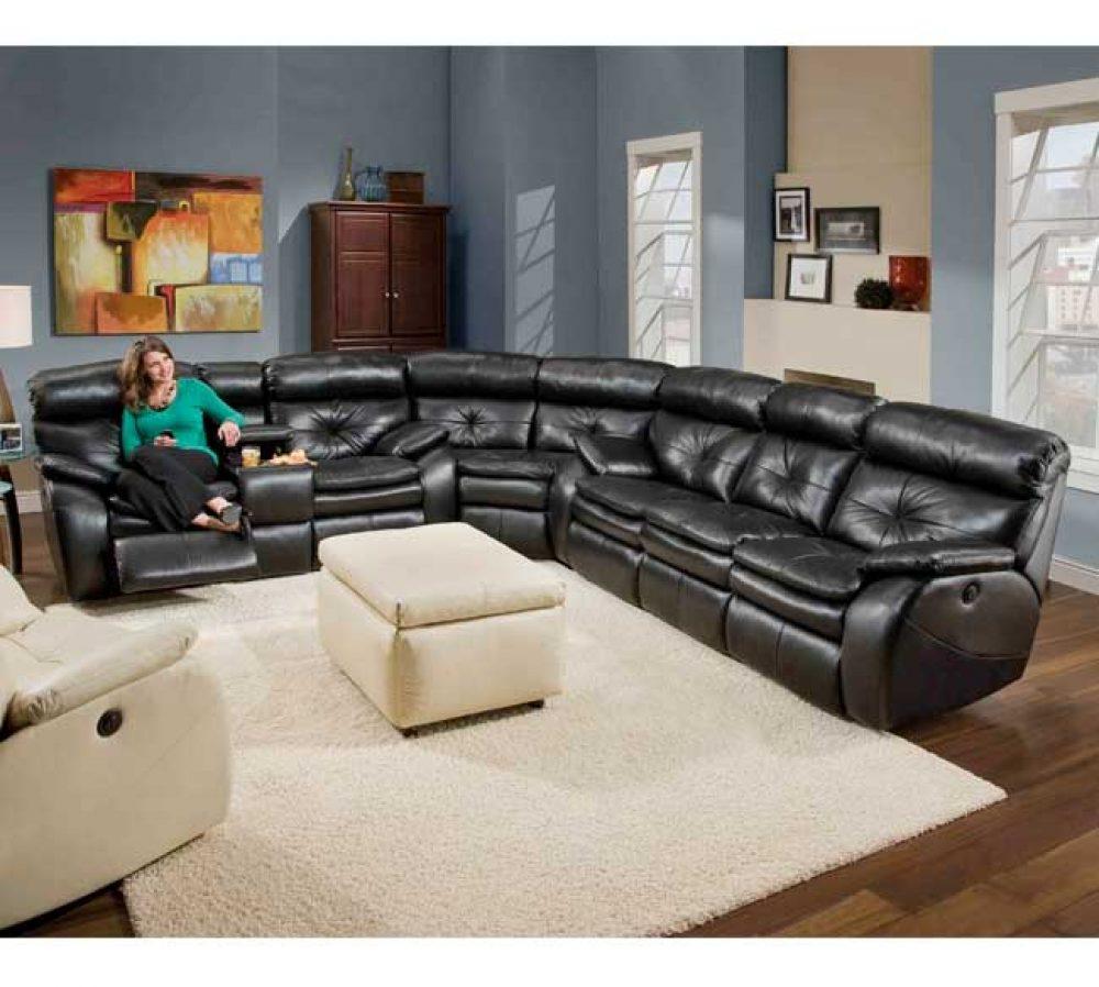 Southern Motion Jitterbug Sectional Leather Sofa