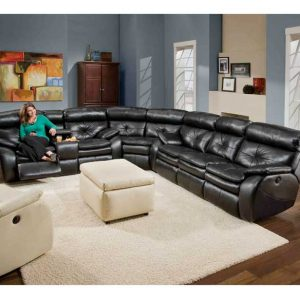 Southern-Motion-Jitterbug-Sectional-Leather-Sofa to illustrate leather sofas vs. fabric