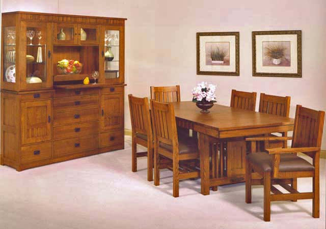 Trend manor mission dining room set broadway furniture - Mission style dining room furniture ...