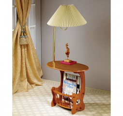 Traditional Warm Brown Magazine Table w/ Lamp by Coaster