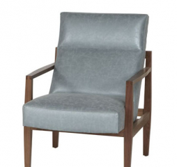 Abby Leather Wood Accent Chair by Jonathan Louis