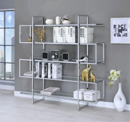 Contemporary Silver Metal and Glass Bookcase by Coaster