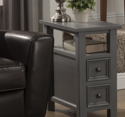 Kona Chairside Table w/ One Shelf and Two Drawers