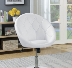 Round Tufted Chrome Swivel Chair by Coaster