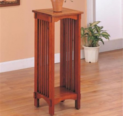 Traditional Warm Brown Oak One Shelf Square Accent Table by Coaster