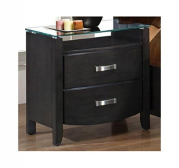 Lyric Nightstand w/ Glass Top by Homelegance