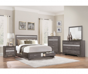Luster Platform Bed w/ Footboard Drawers by Homelegance