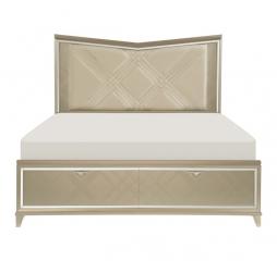 Bijou Platform Bed w/ LED Lighting and Footboard Storage by Homelegance