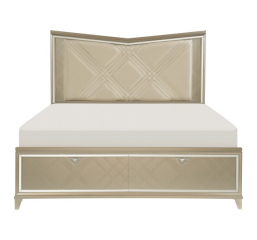 Bijou Platform Bed w/ LED Lighting and Footboard Storage by Homelegance