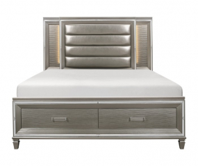 Tamsin Platform Bed w/ Footboard Storage and LED Lighting by Homelegance
