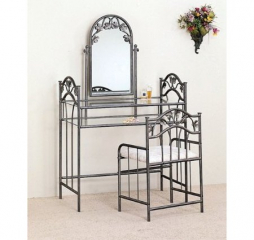 Transitional Pewter and Ivory Two Piece Metal Vanity Set w/ Glass Top by Coaster