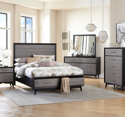 Raku Platform Bed w/ Footboard Storage by Homelegance