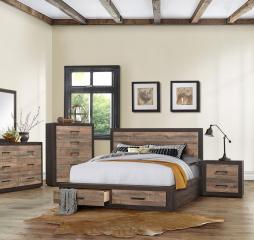 Miter Platform Bed w/ Footboard Storage by Homelegance