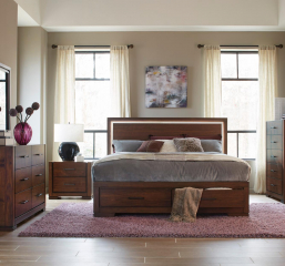 Ingrando Platform Bed w/ Footboard Storage and LED Lighting by Homelegance