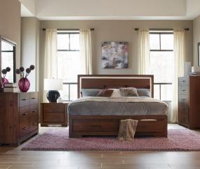 Ingrando Platform Bed w/ Footboard Storage and LED Lighting by Homelegance