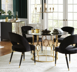 Lindsey Round Glass Top Dining Table by Coaster
