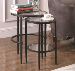 Matte Black Two Piece Glass Top Nesting Table Set by Coaster
