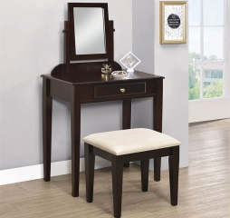 Transitional 2 Piece Espresso and Beige Vanity Set by Coaster