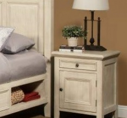 Monroe Kids Bedroom Nightstand w/ One Drawer and One Door by North American Wood