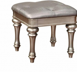 Bling Game Metallic Platinum Upholstered Vanity Stool by Coaster