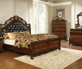 Exeter Upholstered Tufted Sleigh Bed by Coaster