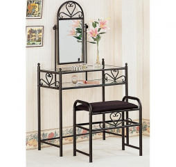 Traditional Black Two Piece Metal Vanity w/ Glass Top and Fabric Stool by Coaster