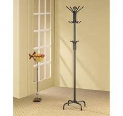 Contemporary Stain Black 12 Hook Coat Rack by Coaster