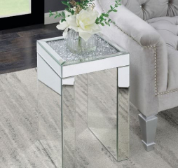 Contemporary Square Clear Mirrored Chairside Table by Coaster