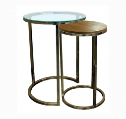 Brushed Nickel Nesting End Table by Jonathan Louis