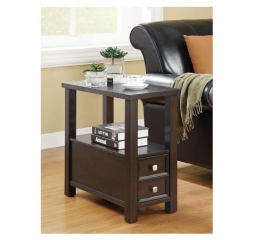 Cappuccino Chairside Table w/ Storage Drawers by Coaster