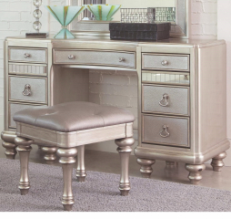 Bling Game Metallic Platinum Seven Drawer Vanity Desk by Coaster