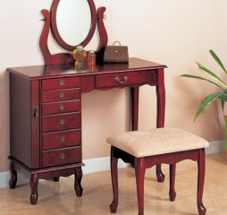 Brown Red and Tan Two Piece Vanity Set by Coaster