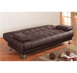 Casual Brown and Chrome Sofa Bed by Coaster
