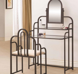 Contemporary Tan and Bronze Two Piece Vanity Set by Coaster