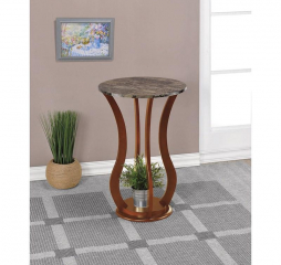 Transitional Brown Round Marble Top Accent Table by Coaster