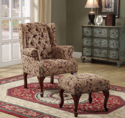 Queen Anne Light Brown Accent Chair and Ottoman by Coaster