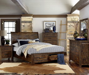 Jerrick Sleigh Platform Bed w/ Footboard Storage by Homelegance